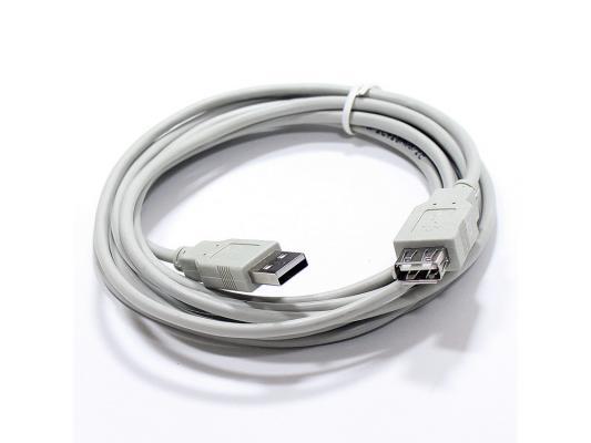 Кабель удлинительный USB 2.0 AM-AF 3.0м VCOM Telecom серый TC6936-3MO-GY