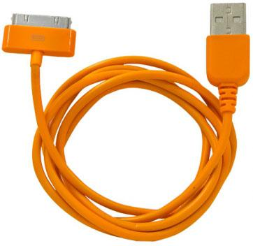 Кабель CBR Human Friends Super Link Rainbow C Orange USB 1м для iPhone 3G 4 iPad 1 2 3 iPod 5 Lightning 30-pin оранжевый CB 273