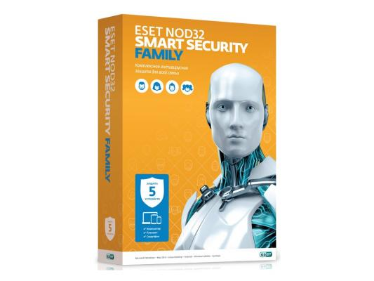 Антивирус ESET NOD32 Smart Security Family на 12 мес на 5 устройств NOD32-ESM-NS(BOX)-1-5 по для сервиса м видео office 365 eset nod32 антивирус 1устр 1 год