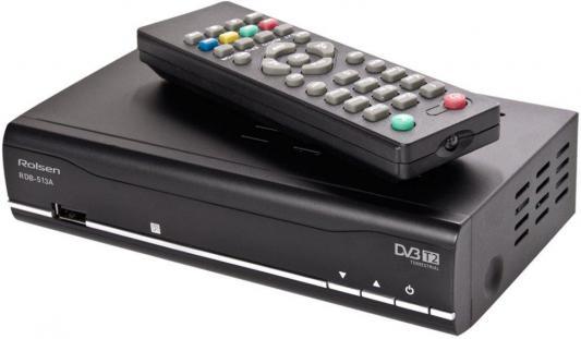 Тюнер цифровой DVB-T2 Rolsen RDB-513A черный
