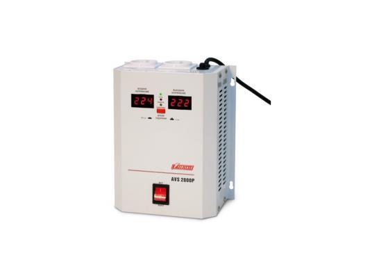 Стабилизатор напряжения Powerman AVS-2000P 2000VA белый стабилизатор напряжения powerman avs 500s 1 розетка серый