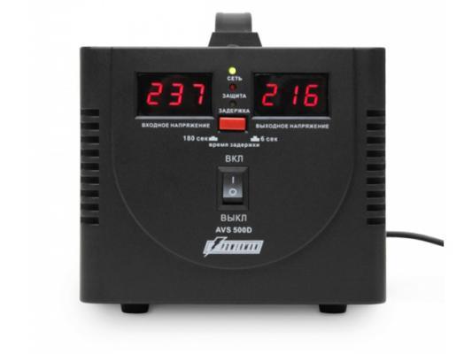 цена на Стабилизатор напряжения Powerman AVS 500D черный 2 розетки