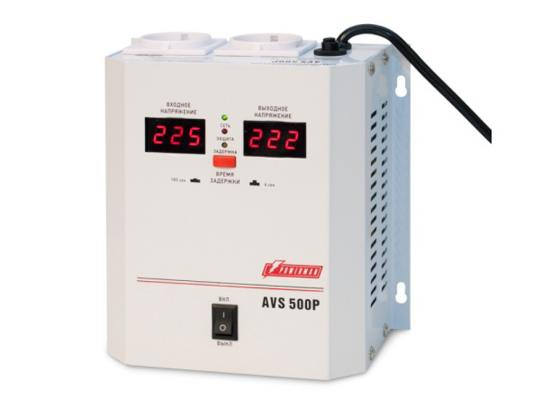 цена на Стабилизатор напряжения Powerman AVS 500P белый 2 розетки