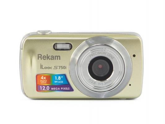 "Цифровая фотокамера Rekam iLook S750i 12 Mpx 1.8"" LCD золотистый"