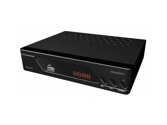 Тюнер цифровой DVB-T2 Rolsen RDB-508A черный тв приставка rolsen rdb 508
