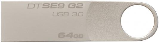 Флешка USB 64Gb Kingston DataTraveler SE9 DTSE9G2/64GB серебристый usb флешка kingston datatraveler 100 g3 64gb usb3 0 черный