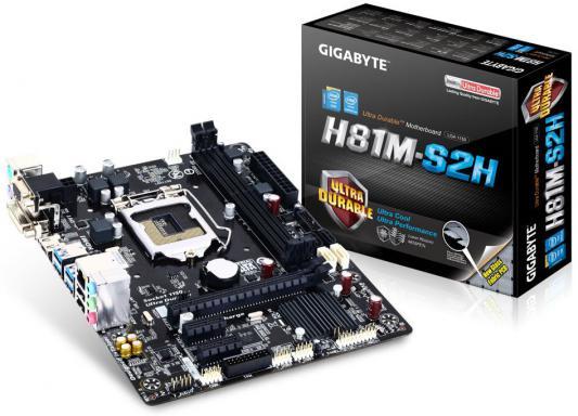 Материнская плата для ПК GigaByte GA-H81M-S2H Socket 1150 H81 2xDDR3 1xPCI-E 16x 2xPCI-E 1x 2xSATA II 2xSATAIII mATX Retail