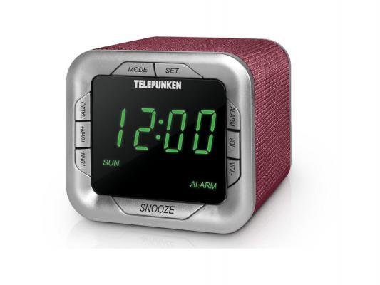 Часы с радиоприёмником Telefunken TF-1505 бордовый зелёный