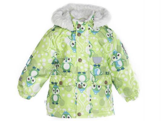 Куртка Huppa Cutty салатовая с пингвинами полиэстер с капюшоном 104 см 1716BW14-647-104