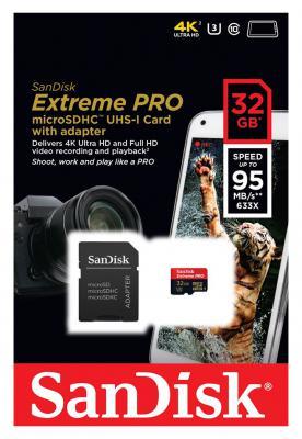 Карта памяти Micro SDHC 32Gb Class 10 Sandisk Extreme PRO SDSDQXP-032G-G46A +адаптер SD
