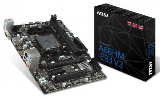 Материнская плата для ПК MSI A68HM-E33 V2 Socket FM2+ AMD A68H 2xDDR3 1xPCI-E 16x 1xPCI 1xPCI-E 1x 4xSATAIII mATX Retail