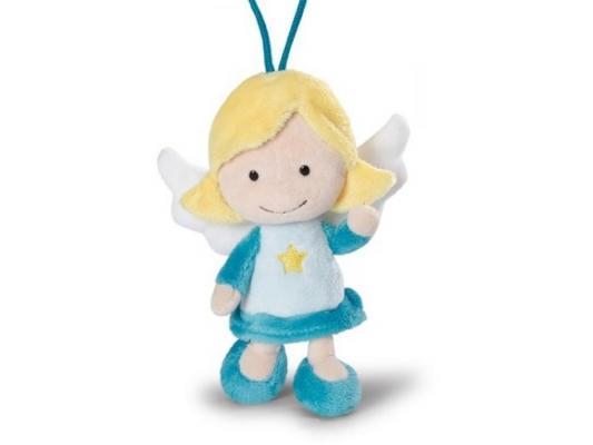 Мягкая игрушка ангелочек Nici Ангел-хранитель, с петелькой плюш голубой 15 см 37331