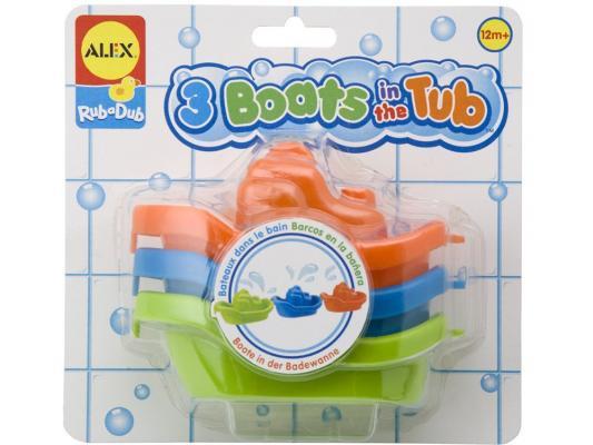 Интерактивная игрушка Alex 3 цветные лодочки от 1 года разноцветный alex игрушки для ванны 3 цветные лодочки