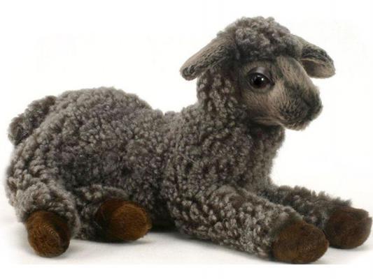 Мягкая игрушка ягненок Hansa лежащий искусственный мех черный 23 см 4771