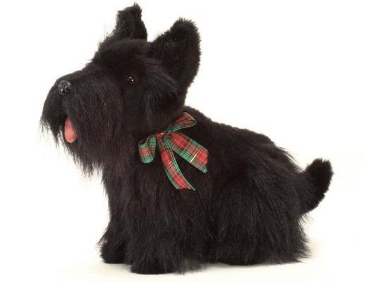 Мягкая игрушка собака Hansa Скотч терьер искусственный мех черный 31 см 4128 мягкая игрушка собака orange чихуа kiki малиновый блеск текстиль искусственный мех розовый коричневый 25 см ld010