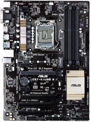 Материнская плата для ПК ASUS Asus Z97-K/USB3.1 Socket 1150 Z97 4xDDR3 2xPCI-E 16x 2xPCI 2xPCI-E 1x 6xSATAIII ATX Retail