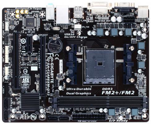 Мат. плата для ПК GigaByte GA-F2A88XM-DS2V3.2 Socket FM2+ AMD A88X 2xDDR3 1xPCI-E 16x 1xPCI 1xPCI-E 1x 4xSATAIII mATX Retail