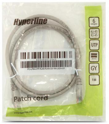 Патч-корд UTP 6 категории 1м Hyperline PC-LPM-UTP-RJ45-RJ45-C6-1M-LSZH-GY LSZH серый