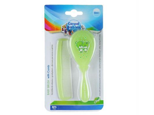 Купить Щетка Canpol жесткая и расческа для волос 2/419 лайм, Детские ножницы и расчески