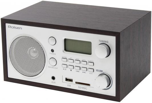 Часы с радиоприёмником Rolsen RFM-300 коричневый