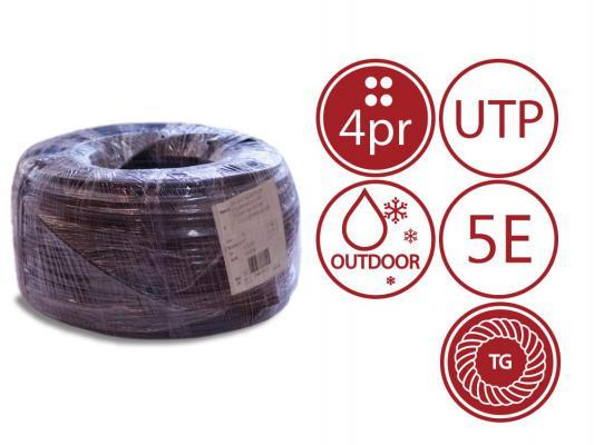Кабель U/UTP outdoor 4 пары категория 5e SUPRLAN Standard одножильный 4x2xAWG24 100% медь PE T-FG8 трос 305м