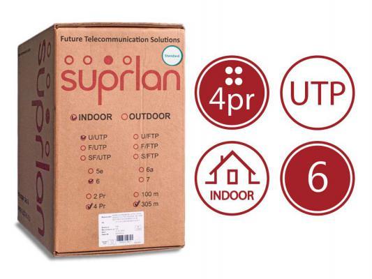 Кабель U/UTP indoor 4 пары категория 6 SUPRLAN Six одножильный 4x2xAWG23 100% медь PVC 305м 01-0316