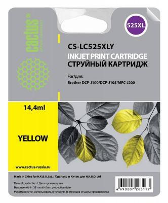 Картридж Cactus CS-LC525XLY для Brother DCP-J100/J105/J200 желтый