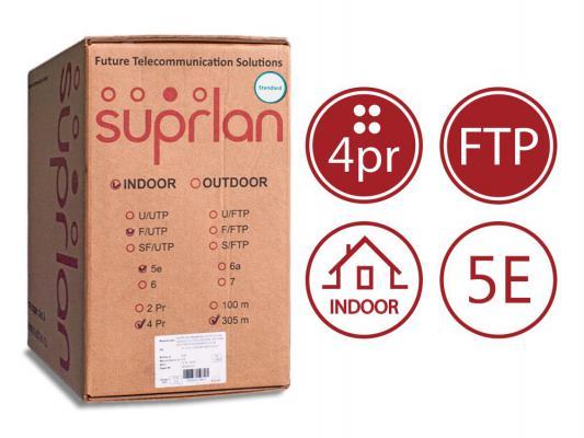 Кабель F/UTP indoor 4 пары категория 5e SUPRLAN Standard одножильный 4x2xAWG24 100% медь PVC 305м 01-1031
