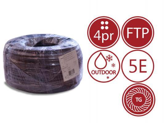 Кабель F/UTP outdoor 4 пары категория 5e SUPRLAN Standard одножильный 4x2xAWG24 100% медь PE T-FG8 трос 305м 01-1026