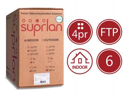 Кабель F/UTP indoor 4 пары категория 6 SUPRLAN Six одножильный 4x2xAWG23 100% медь PVC 305м 01-1020
