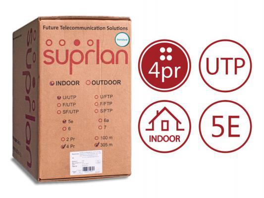 Кабель UTP indoor 4 пары категория 5e SUPRLAN Standard одножильный 4x2xAWG24 100% медь LSZH 305м