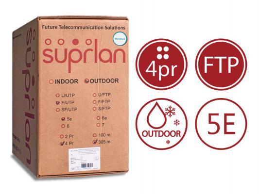 Кабель F/UTP outdoor 4 пары категория 5e SUPRLAN Standard одножильный 4x2xAWG24 100% медь PE 305м 01-1028