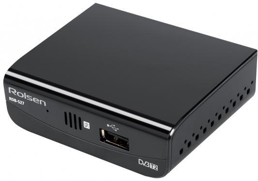 Тюнер цифровой DVB-T2 Rolsen RDB-527 черный