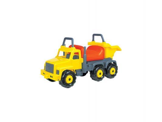 Каталка-машинка Полесье Супергигант-2 от 1 года пластик серый-оранжевый-желтый 7889 полесье каталка пикап с ручкой 2 цвет желтый