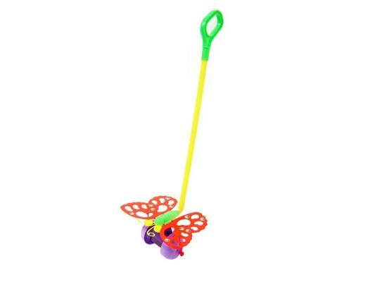 Каталка на палочке Совтехстром Бабочка разноцветный от 1 года пластик У514 каталка на палочке s s toys вертолет 23х16х13см