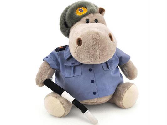 Мягкая игрушка бегемотик ОРАНЖ Полицейский искусственный мех синтепон текстиль синий серый 50 см
