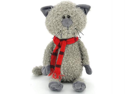 Мягкая игрушка кот ОРАНЖ Обормот в шарфике искусственный мех текстиль серый 30 см OS067/30