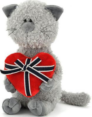 Мягкая игрушка Orange Кот Обормот с сердцем плюш серый 30 см OS080/30
