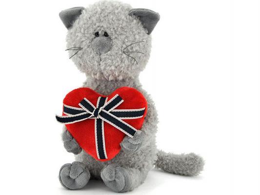 Мягкая игрушка кот ОРАНЖ Обормот с сердцем текстиль серый 45 см OS080/45