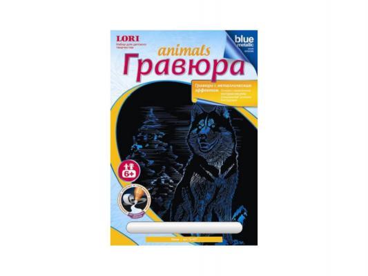 цены на Гравюра Lori Животные с эффектом синий металлик Хаски унисекс от 6 лет Гр-427  в интернет-магазинах