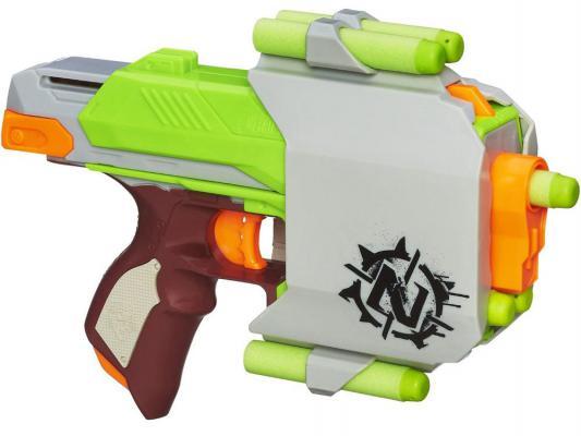 Бластер Hasbro Nerf Зомби Сайдстрайк серебристый для мальчика A6557 игрушечное оружие nerf hasbro бластер зомби страйк сайдстрайк