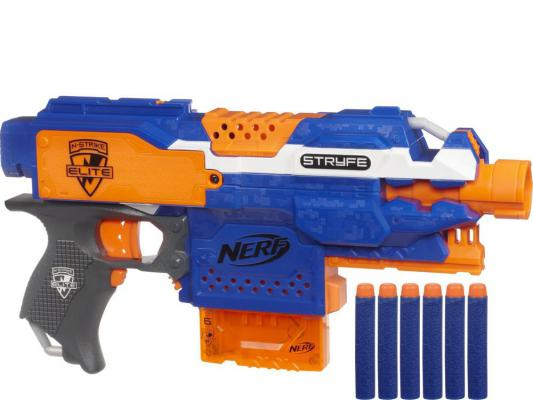 Бластер Hasbro Nerf Элит Страйф синий для мальчика A0200 бластер hasbro nerf элит риталиэйтор белый для мальчика 98696