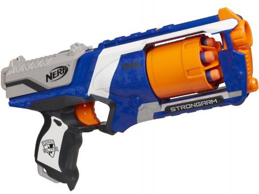 Бластер Hasbro Nerf Элит Стронгарм синий черный белый оранжевый 36033