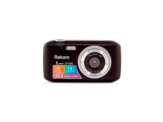 Цифровая фотокамера Rekam iLook S755i 12 Mpx 1.8 LCD черный цифровая фотокамера rekam ilook s955i ilook s955i