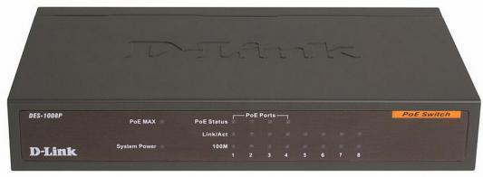 Коммутатор D-LINK DES-1008P/C1A неуправляемый 8х10/100Mbps 4хPoE