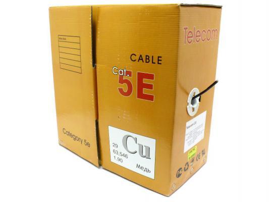 Кабель FTP кат. 5е 4 пары Telecom FTP4-TC1000C5EN(CU)-OS черный 305м цена и фото
