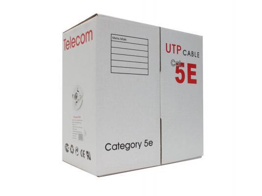 Кабель UTP 4 пары категория 5E Telecom UTP4-TC305C5EPRO-CCA-IS серый 305м кабель vcom cca utp кат 5е 4 пары бухта 305м vnc1100 омедненный