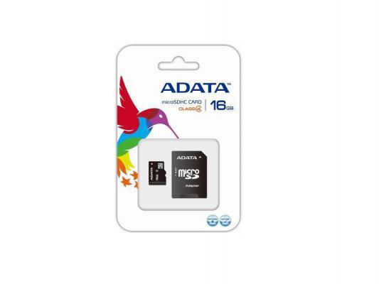 Карта памяти Micro SDHC 16Gb Class 4 A-Data AUSDH16GCL4-RA1 + адаптер SD