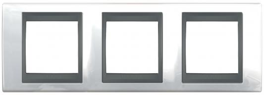 Рамка 3 пост хром нордик/графит Schneider Electric MGU66.006.292