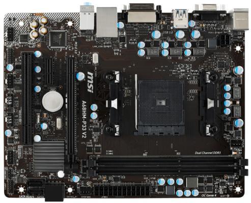 Мат. плата для ПК MSI A68HM-P33 V2 Socket FM2+ AMD A68H 2xDDR3 1xPCI-E 16x 1xPCI-E 1x 4xSATAIII mATX Retail материнская плата asus h81m r c si h81 socket 1150 2xddr3 2xsata3 1xpci e16x 2xusb3 0 d sub dvi vga glan matx